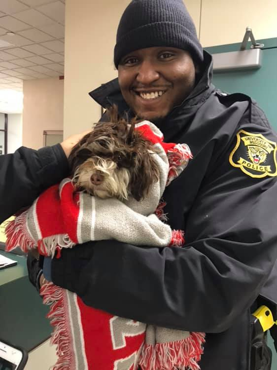 "Officer Hayes nicknamed the lost puppy Elsa from the movie ""Frozen"" because she was found on a bitterly cold and snowy night on the MU campus."